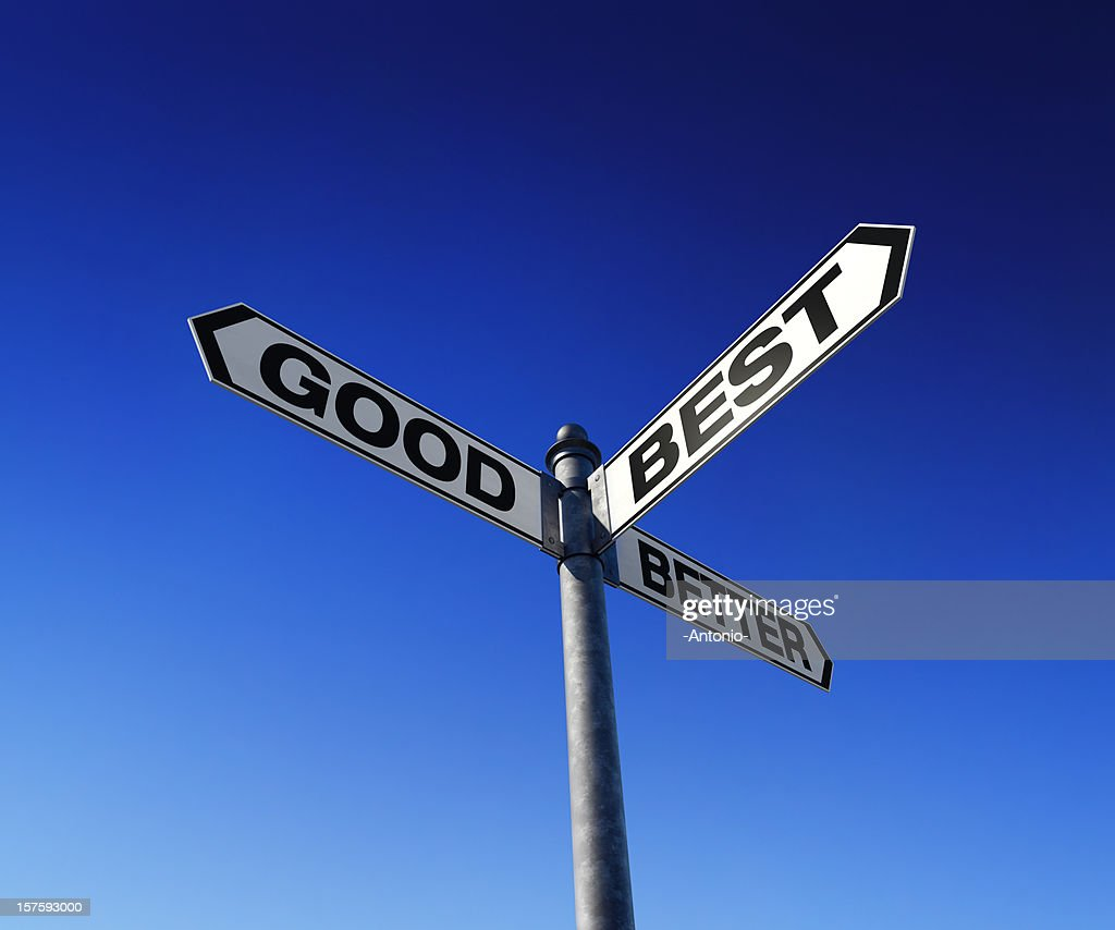 Directional choices arrow signpost : Stock Photo