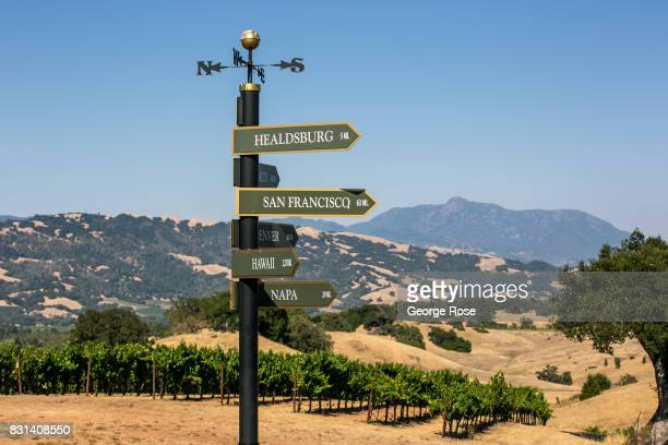 A directional sign at the top of a vineyard is viewed on August 3 near Healdsburg California Following a record winter rainfall on the North Coast...