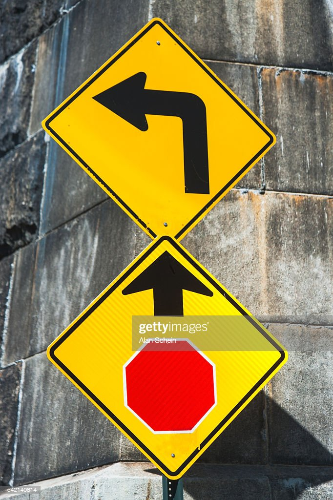 Directional Sign Stop Ahead Left Turn High-Res Stock Photo ...