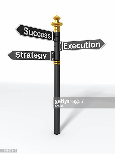directional sign strategy, execution, and success - execution stock pictures, royalty-free photos & images