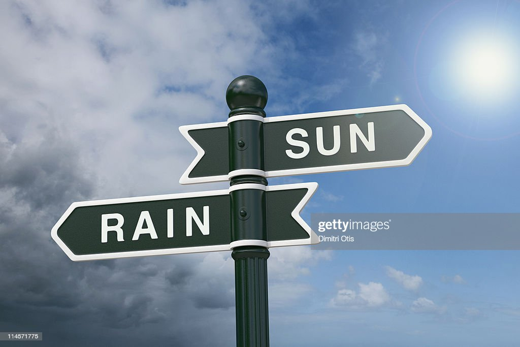 Directional signs pointing to rain and sunshine : Stock Photo