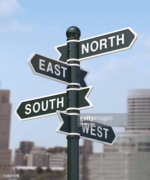 directional signs saying, north, south, east, west - west direction stock pictures, royalty-free photos & images
