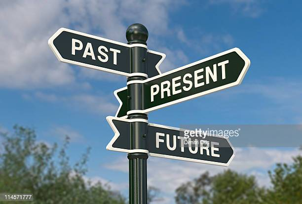 directional signs saying past, present and future - road sign stock pictures, royalty-free photos & images