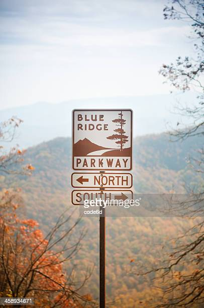 Directions sign on the Blue Ridge Parkway, Virginia, USA