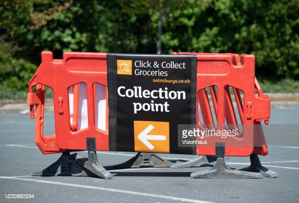 Directions to the Sainsburys Click and Collect collection point on April 22, 2020 in Manchester, England. The British government has extended the...