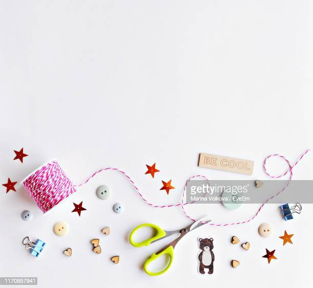 directly above of needlecraft products against white background - sewing stock pictures, royalty-free photos & images