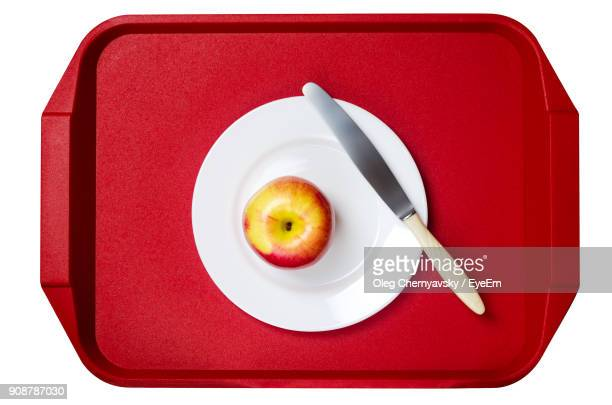 Directly Above Shot Of Apple In Plate On Tray Over White Background