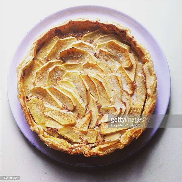 Directly Above Shot Of Apple Pie Against White Background