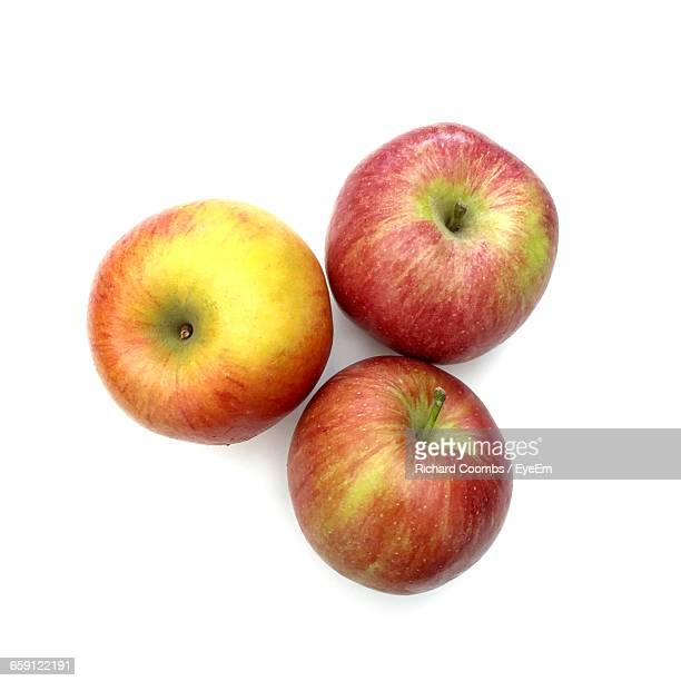 Directly Above Shot Of Apples Against White Background