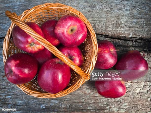 Directly Above Shot Of Apples In Basket On Table