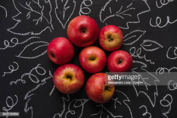 Directly Above Shot Of Apples On Chalk Drawing