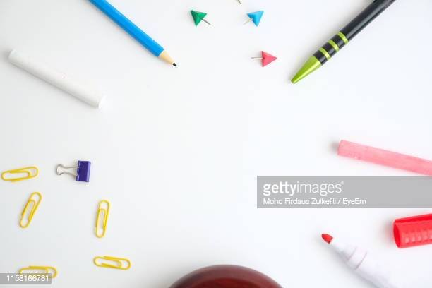 directly above shot of art and craft equipment on white background - stationary stock pictures, royalty-free photos & images