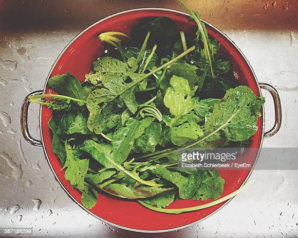 Directly Above Shot Of Arugula Leaves In Cooking Pan
