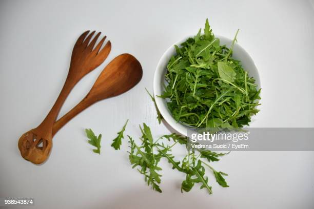 Directly Above Shot Of Arugula Leaves With Spoons Against White Background