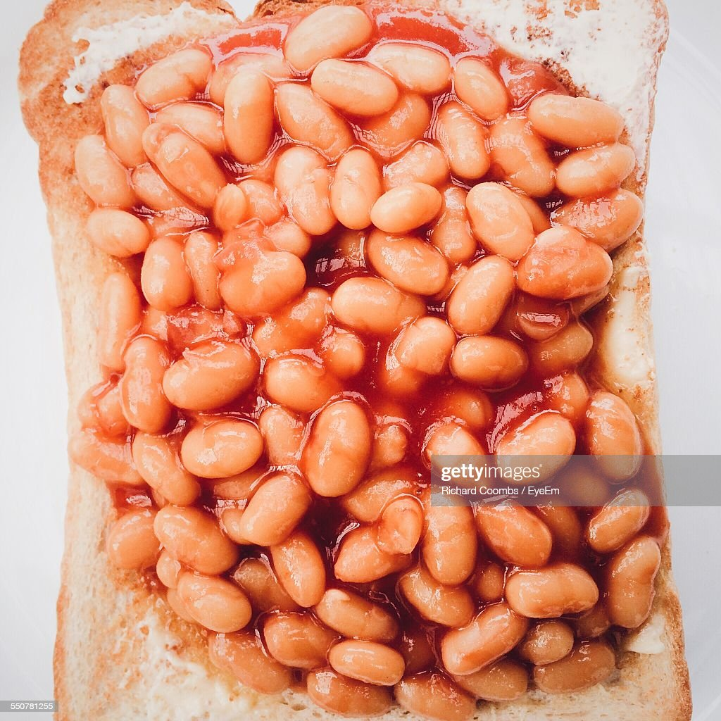 Directly Above Shot Of Baked Beans On Toast : Stock Photo