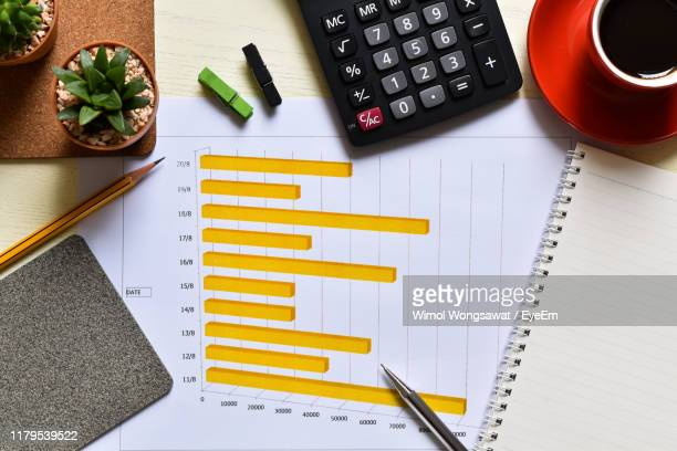 directly above shot of bar graph with office supplies on desk in office - wimol wongsawat stock photos and pictures