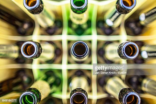 Directly Above Shot Of Beer Bottles In Crate