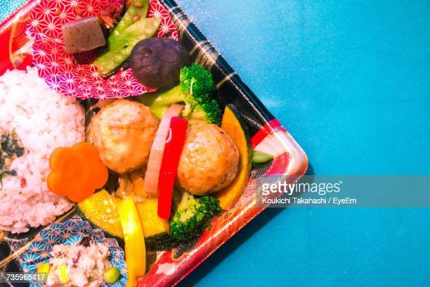 Directly Above Shot Of Bento Box On Table