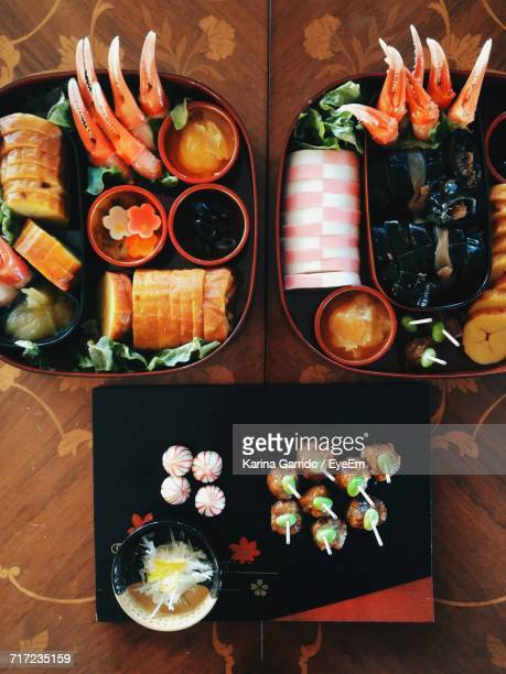 Directly Above Shot Of Bento Boxes On Table