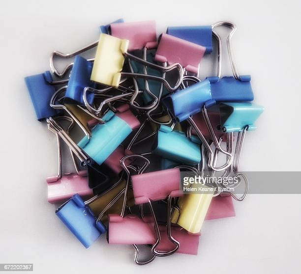 Directly Above Shot Of Binder Clips On Table