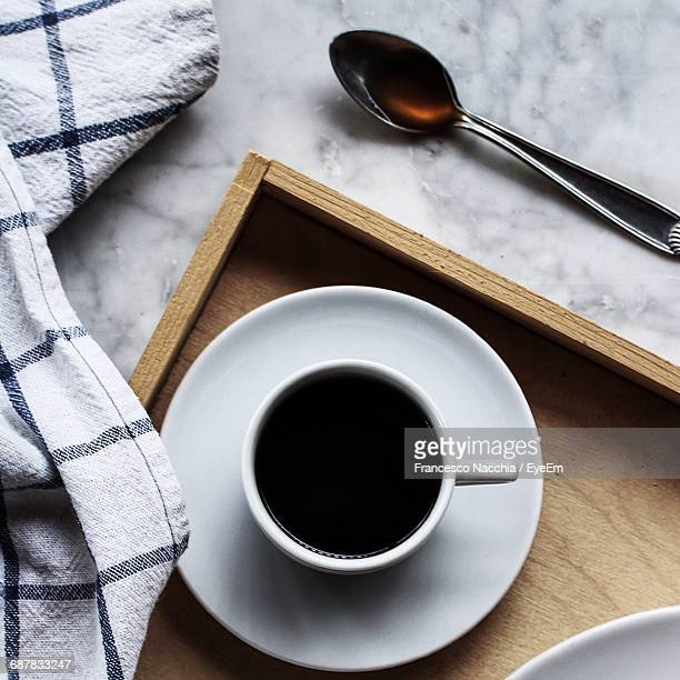 Directly Above Shot Of Black Coffee In Cup
