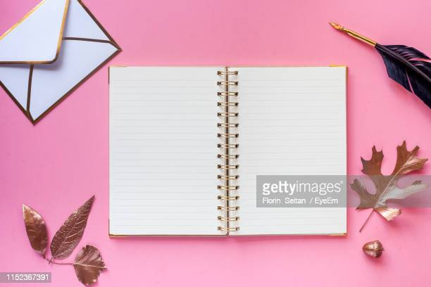 directly above shot of books on pink background - florin seitan stock pictures, royalty-free photos & images