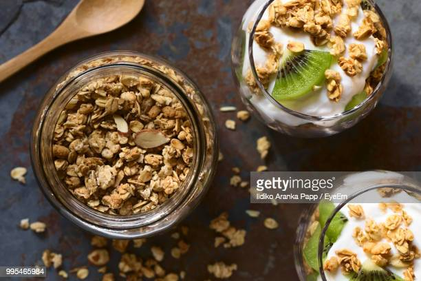 directly above shot of breakfast at table - walnut stock pictures, royalty-free photos & images