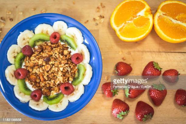 directly above shot of breakfast on table - água stock pictures, royalty-free photos & images