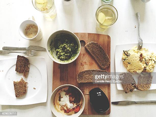 directly above shot of breakfast on table - reid,_wisconsin stock pictures, royalty-free photos & images