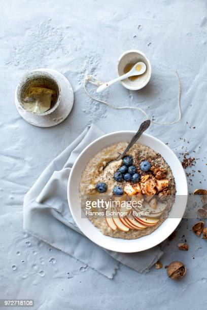 directly above shot of breakfast on table - nut food stock pictures, royalty-free photos & images