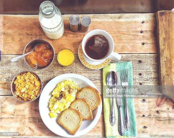 Directly Above Shot Of Breakfast On Wooden Table