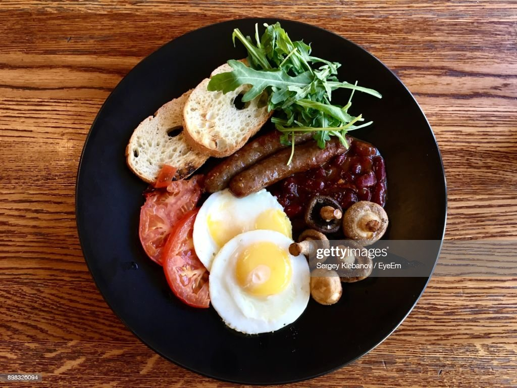 Directly Above Shot Of Breakfast Served In Plate On Table : Stock Photo