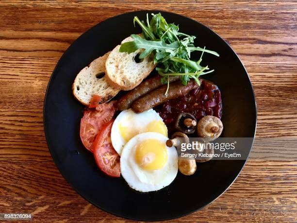 Directly Above Shot Of Breakfast Served In Plate On Table