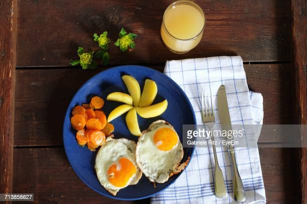 Directly Above Shot Of Breakfast Served On Table At Home