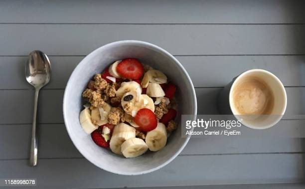 directly above shot of breakfast served on table - alisson stock pictures, royalty-free photos & images