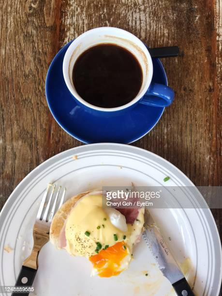 directly above shot of breakfast served on table - bicester village stock pictures, royalty-free photos & images