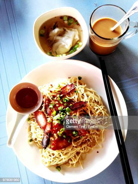 directly above shot of breakfast served on table - sarawak state stock pictures, royalty-free photos & images