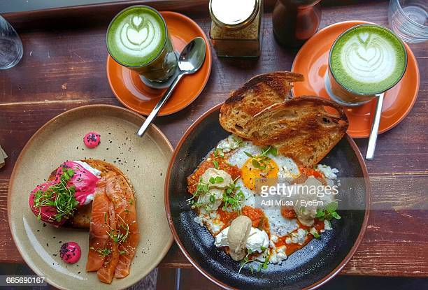 Directly Above Shot Of Brunch Served On Table