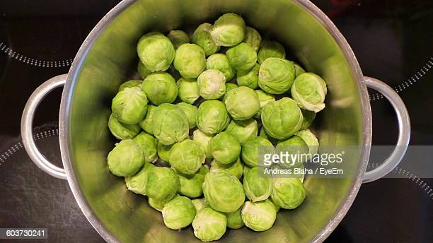 Directly Above Shot Of Brussels Sprouts In Metal Container