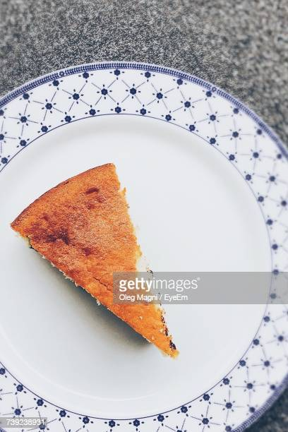 Directly Above Shot Of Cake Slice In Plate