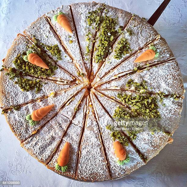 directly above shot of carrot cake slices - carrot cake stock pictures, royalty-free photos & images