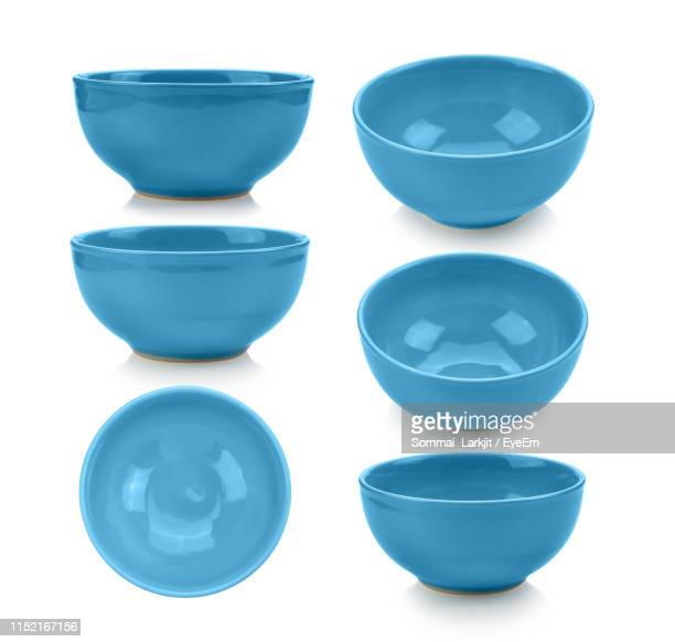 directly above shot of ceramic kitchen bowls against white background - bowl stock pictures, royalty-free photos & images