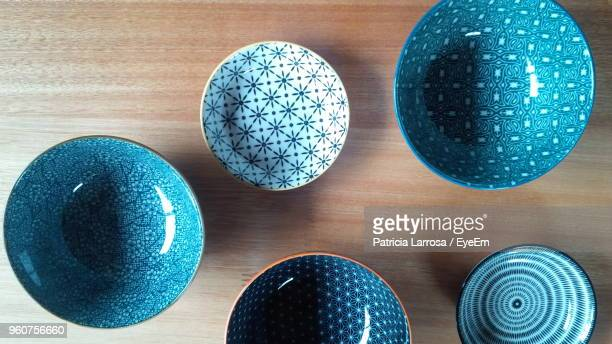 directly above shot of ceramics bowl on table - ceramic stock pictures, royalty-free photos & images