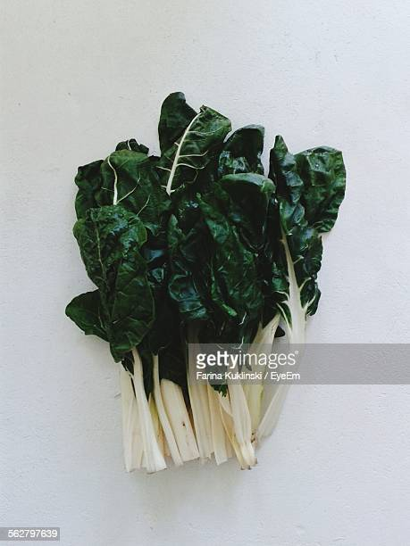 Directly Above Shot Of Chard Leaves On Table