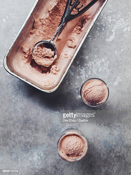 Directly Above Shot Of Chocolate Ice Creams On Table