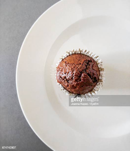 Directly Above Shot Of Chocolate Muffin In Plate