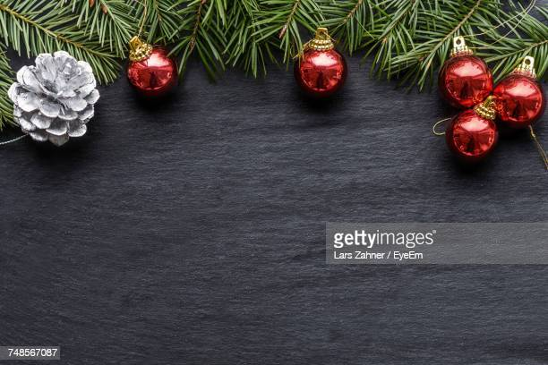 Directly Above Shot Of Christmas Decoration On Table