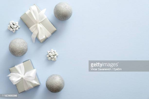 directly above shot of christmas decoration - silver coloured stock pictures, royalty-free photos & images