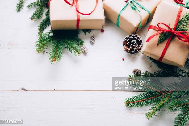 Directly Above Shot Of Christmas Decorations On Table