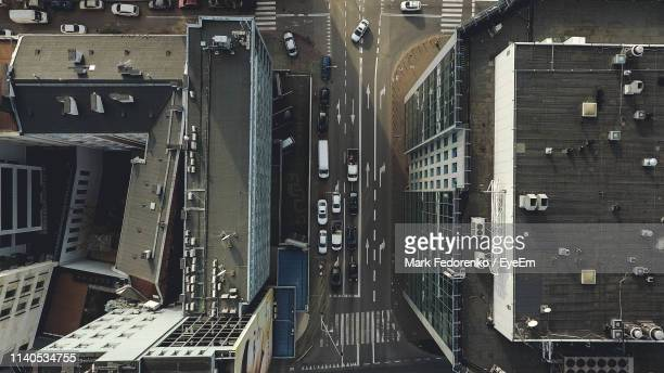 directly above shot of city street and buildings - warsaw stock pictures, royalty-free photos & images